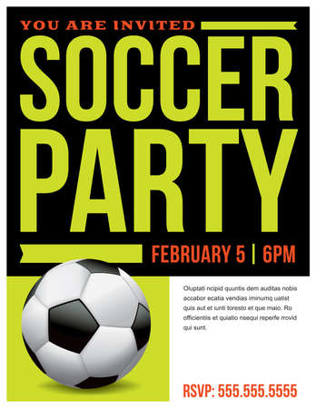 A flyer for a soccer party invitation template. Иллюстрация