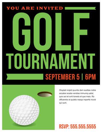 A flyer for a golf tournament invitation template. Ilustração