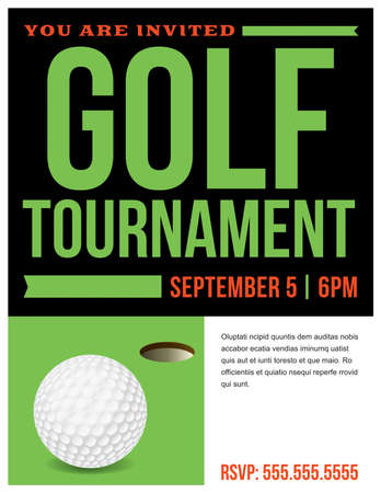 Un volante para una plantilla de invitación para un torneo de golf.
