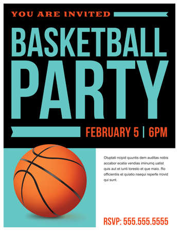 A flyer for a basketball party invitation template. Vector EPS 10 available.