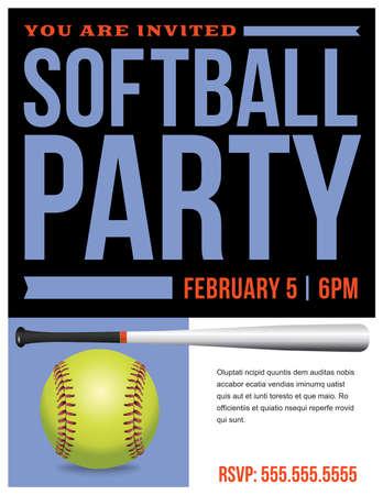 ソフトボール パーティー招待状のテンプレートのためのチラシです。  イラスト・ベクター素材