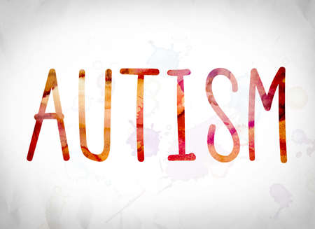 asperger: The word Autism written in watercolor washes over a white paper background concept and theme. Stock Photo
