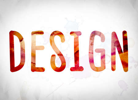 The word Design written in watercolor washes over a white paper background concept and theme.