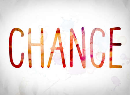 The word Chance written in watercolor washes over a white paper background concept and theme. Stock Photo