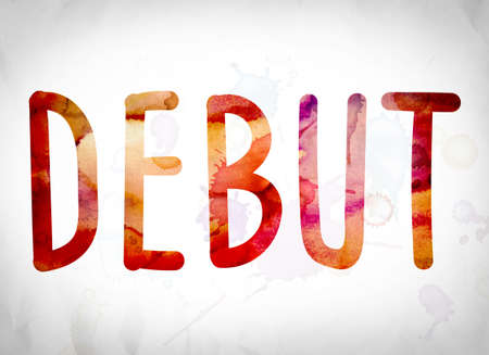 The word Debut written in watercolor washes over a white paper background concept and theme.