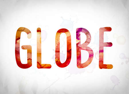 The word Globe written in watercolor washes over a white paper background concept and theme. Stock fotó