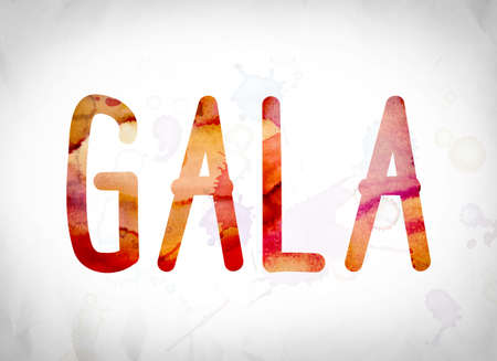 The word Gala written in watercolor washes over a white paper background concept and theme.