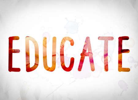 """Het woord """"Educate"""" geschreven in aquarel wast over een Witboek achtergrond concept en thema. Stockfoto"""