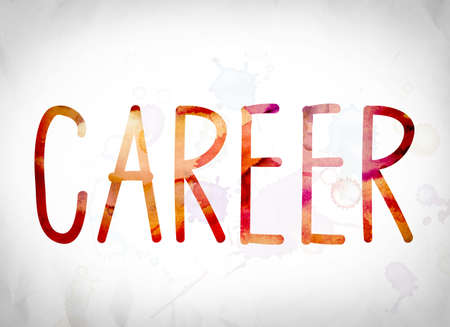 The word Career written in watercolor washes over a white paper background concept and theme.
