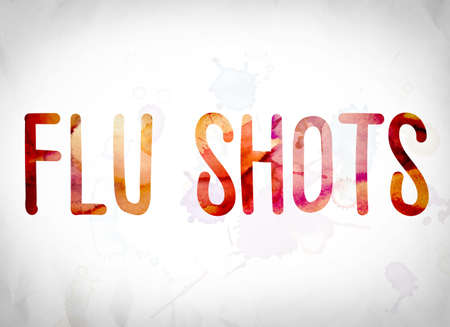 flu shots: The word Flu Shots written in watercolor washes over a white paper background concept and theme.