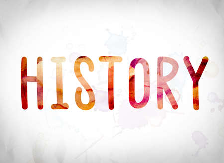 chronicle: The word History written in watercolor washes over a white paper background concept and theme. Stock Photo