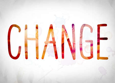 The word Change written in watercolor washes over a white paper background concept and theme. Stock Photo