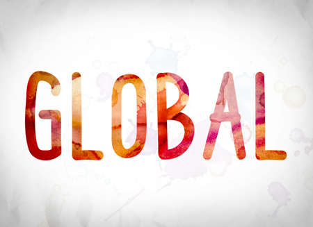 The word Global written in watercolor washes over a white paper background concept and theme.