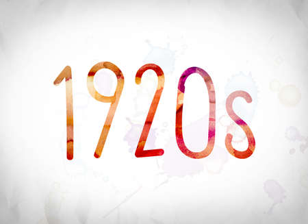 The word 1920s written in watercolor washes over a white paper background concept and theme.