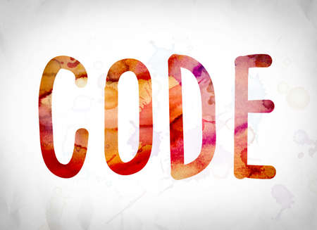 secret code: The word Code written in watercolor washes over a white paper background concept and theme. Stock Photo