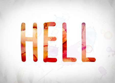 limbo: The word Hell written in watercolor washes over a white paper background concept and theme. Stock Photo