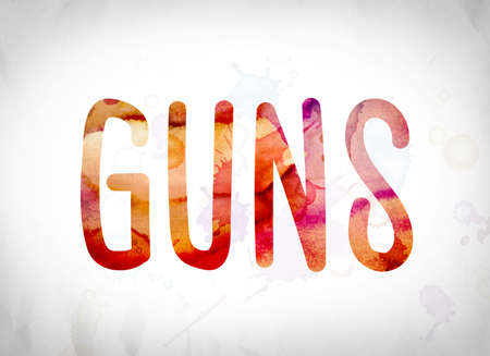 The word Guns written in watercolor washes over a white paper background concept and theme.