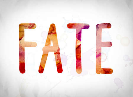 The word Fate written in watercolor washes over a white paper background concept and theme.