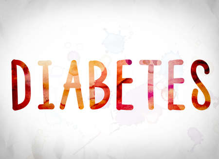 gestational: The word Diabetes written in watercolor washes over a white paper background concept and theme.