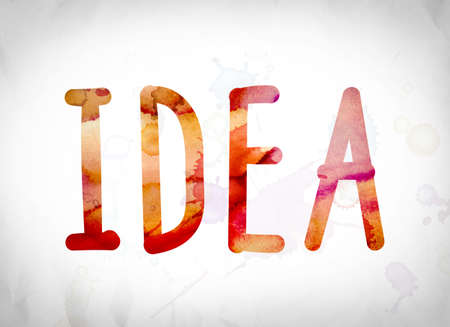 """La palabra """"Idea"""" escrita en acuarela lava sobre un concepto y un tema del fondo del Libro Blanco."""
