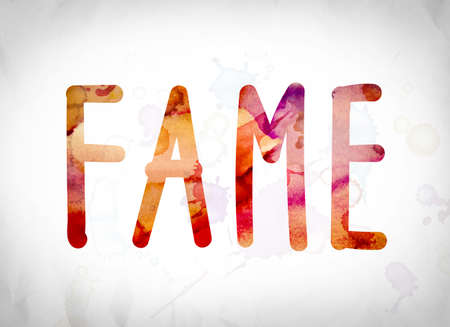 stardom: The word Fame written in watercolor washes over a white paper background concept and theme. Stock Photo
