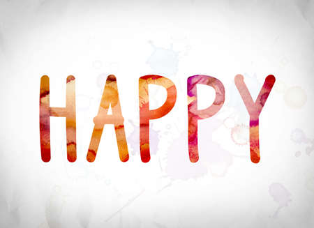 chuckle: The word Happy written in watercolor washes over a white paper background concept and theme. Stock Photo