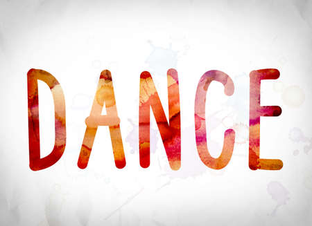 boogie: The word Dance written in watercolor washes over a white paper background concept and theme. Stock Photo