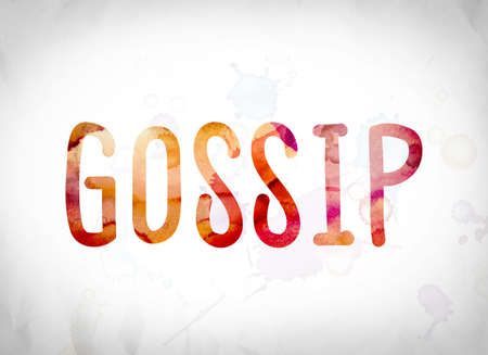 The word Gossip written in watercolor washes over a white paper background concept and theme.