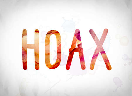 The word Hoax written in watercolor washes over a white paper background concept and theme.