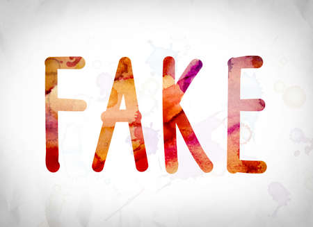 The word Fake written in watercolor washes over a white paper background concept and theme. Stock Photo