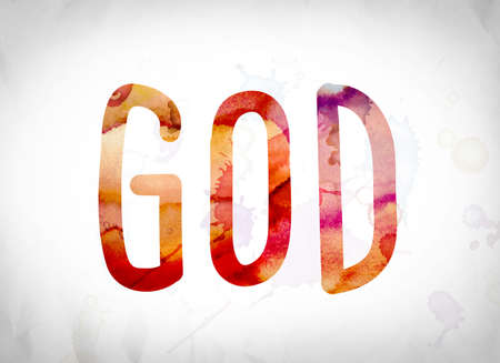 The word God written in watercolor washes over a white paper background concept and theme. Stock Photo