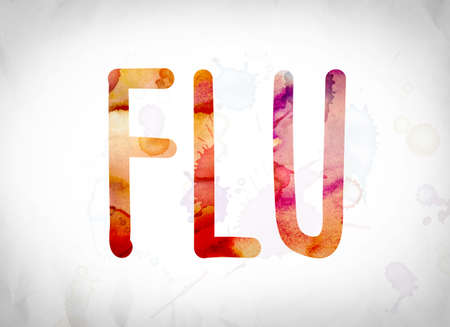 flu shots: The word Flu written in watercolor washes over a white paper background concept and theme. Stock Photo