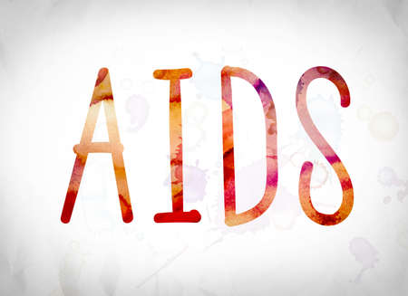 The word AIDS written in watercolor washes over a white paper background concept and theme. Stock Photo