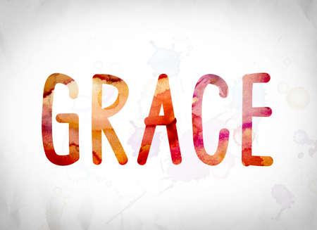 """La parola """"grazia"""", ??scritto in tinte acquerello su uno sfondo bianco carta concetto e il tema."""