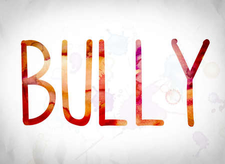 harass: The word Bully written in watercolor washes over a white paper background concept and theme.