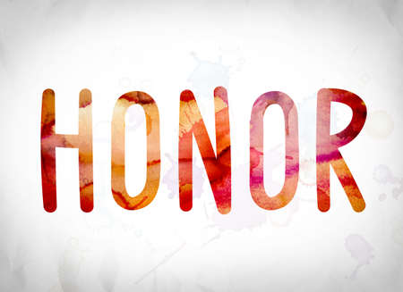 accolade: The word Honor written in watercolor washes over a white paper background concept and theme.