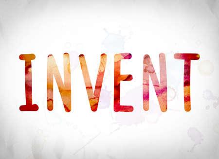 """Het woord """"Invent"""" geschreven in waterverfwassen over een white paper achtergrond, concept en thema. Stockfoto"""