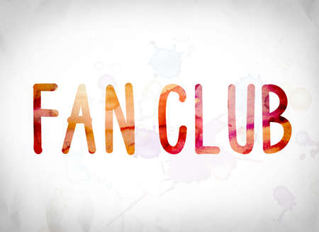 The word Fan Club written in watercolor washes over a white paper background concept and theme.