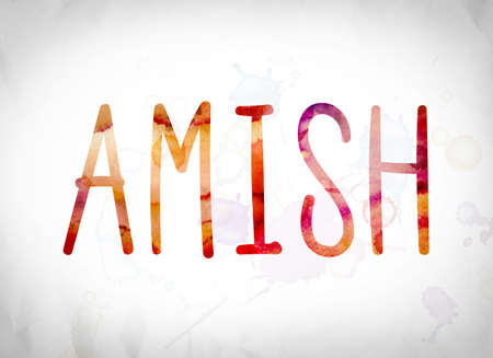 The word Amish written in watercolor washes over a white paper background concept and theme.