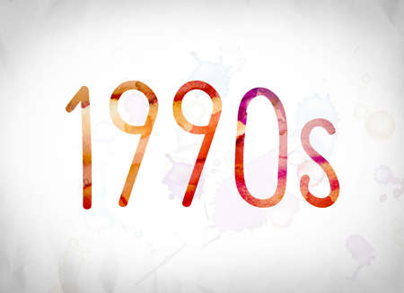 nineties: The word 1990s written in watercolor washes over a white paper background concept and theme.