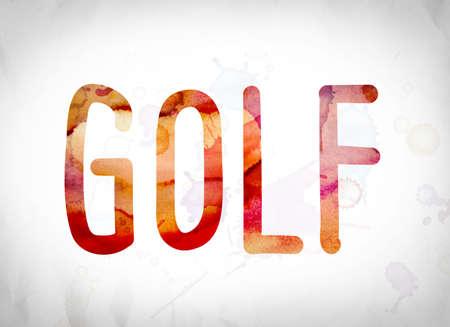 """Het woord """"Golf"""" geschreven in aquarel wast over een Witboek achtergrond concept en thema."""