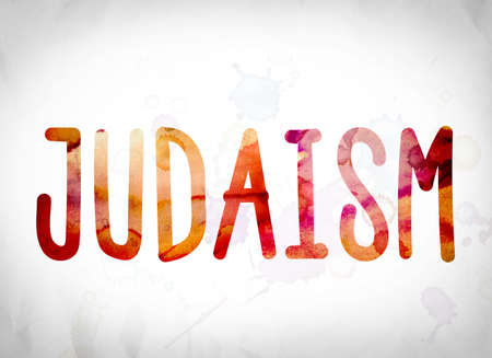judaism: The word Judaism written in watercolor washes over a white paper background concept and theme.