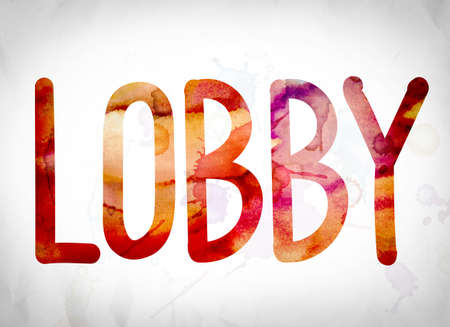 The word Lobby written in watercolor washes over a white paper background concept and theme. Stock Photo
