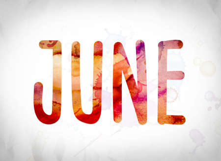 The word June written in watercolor washes over a white paper background concept and theme.