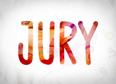 jurado: The word Jury written in watercolor washes over a white paper background concept and theme. Foto de archivo