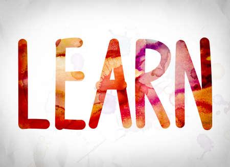 """Het woord """"leren"""" geschreven in aquarel wast over een Witboek achtergrond concept en thema."""