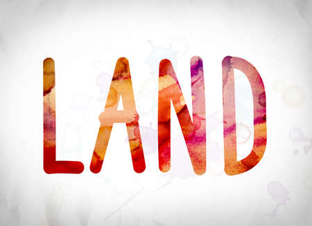 The word Land written in watercolor washes over a white paper background concept and theme.