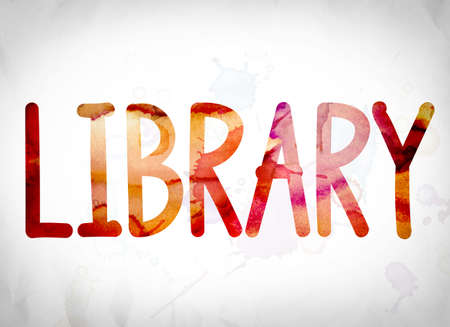 media center: The word Library written in watercolor washes over a white paper background concept and theme.