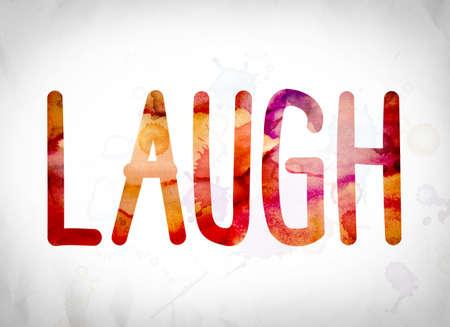 """Het woord """"lachen"""" geschreven in aquarel wast over een Witboek achtergrond concept en thema."""