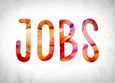 The word Jobs written in watercolor washes over a white paper background concept and theme.
